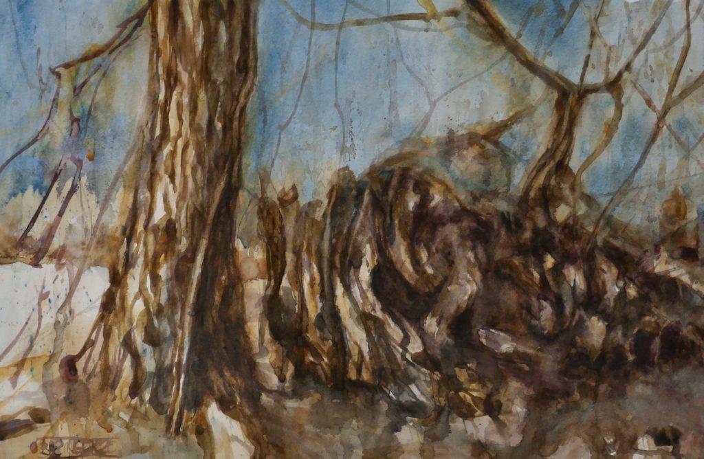 Watercolor, Trunks, 2020.