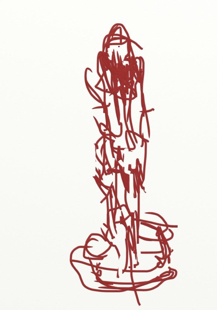 "Sketch for sculpture ""Dragging"", digital drawing"