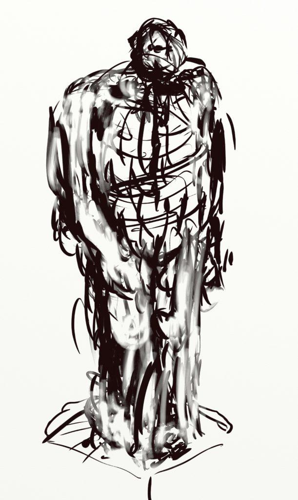 "Sketch for sculpture ""Man with Hoodie"", digital drawing"